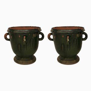Vintage Terracotta Cache Pots, 1950s, Set of 2