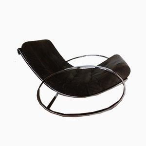 Rocking Chair Ellipse Vintage en Métal Chromé par Renato Zevi pour Selig, 1970s