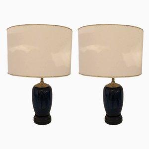 Lampes de Bureau Vintage en Céramique Bleue, 1950s, Set de 2