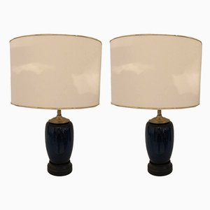 Vintage Blue Ceramic Table Lamps, 1950s, Set of 2
