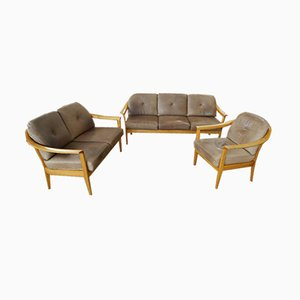 Set da salotto vintage in pelle di Wilhelm Knoll, anni '60