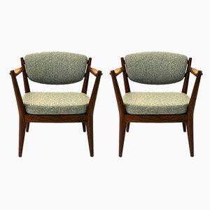 Norwegische Sessel mit Gestell aus Teak von Fredrik A. Kayser für Arnestad Bruk, 1950er, 2er Set