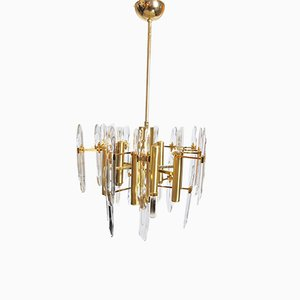 Lámpara de araña vintage de 9 luces de Gaetano Sciolari, años 60