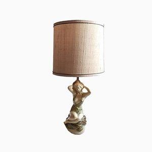 Lámpara de mesa escultural femenina de teca, años 50