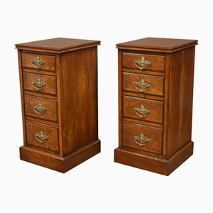 Antique Walnut and Mahogany Night Stands, Set of 2