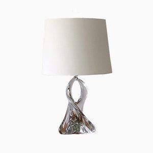 French Twisted Crystal Table Lamp by Jean Daum, 1960s