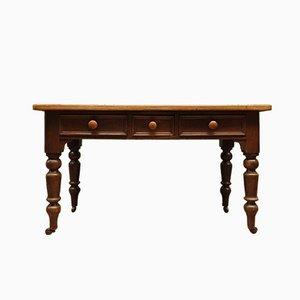 Table Victorienne Antique en Pin avec Tiroirs