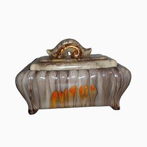 Contenedor vintage con tapa de cerámica esmaltada de Jasba, años 20