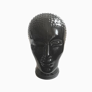 Black Glass Head by Atelier Fornasetti, 1960s