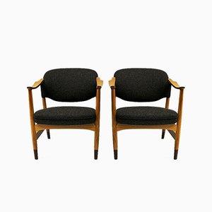Norwegischer Sessel mit Gestell aus Eschenholz von Olav A. Hessen für P.I Langlo AS, 1950er, 2er Set