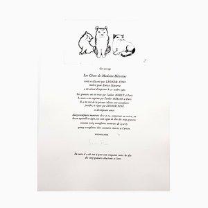 Cats Trio Radierung von Leonor Fini, 1985