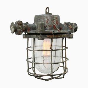 Lampe à Suspension en Verre et Aluminium Gris, 1950s