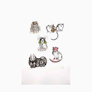 Surrealistic Cats Radierung von Leonor Fini, 1985