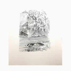 French Campagne Radierung von Raoul Dufy, 1940er