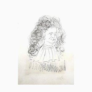 Acquaforte La Fontaine Portrait di Salvador Dali, 1974
