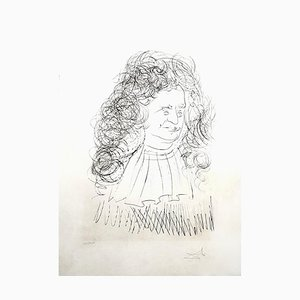 La Fontaine Portrait Radierung von Salvador Dali, 1974