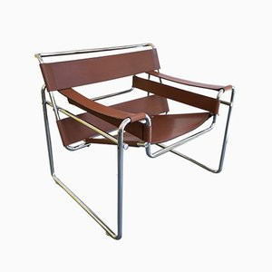 Vintage B3 Wassily Cognac Leather Armchair by Marcel Breuer for Gavina, 1972