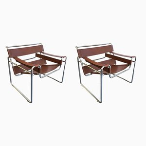 Vintage B3 Wassily Cognac Leather Armchairs by Marcel Breuer for Gavina, 1972, Set of 2