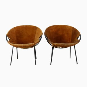 Vintage Suede Lounge Chairs by Erik Ole Jørgensen for Lusch & Co, 1960s, Set of 2