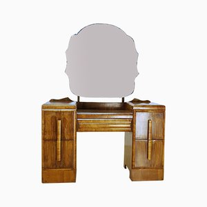 Vintage Art Deco Walnut Dressing Table with Mirror, 1930s