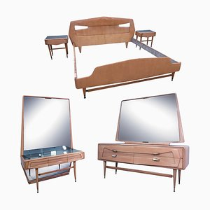 Juego de dormitorio italiano de madera de arce, años 50