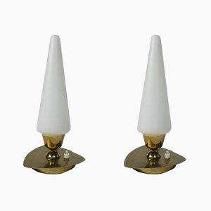 Lámparas de mesa italianas vintage de latón, años 50. Juego de 2