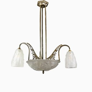 Frosted Glass & Bronze Chandelier by Francis Hubens for Verrerie D'Art Degué, 1930s