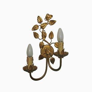 Goldene Regency Wandlampe mit Blättern, 1960er