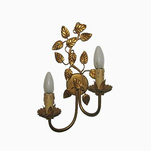 Regency Style Gold Leaf Floral Wall Lamp, 1960s