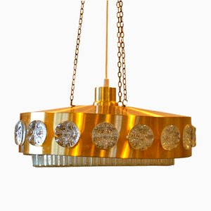 Lampada da soffitto Mid-Century in ottone e vetro, anni '70