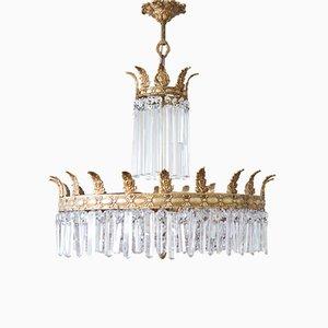 Mid-Century Kronleuchter aus Bronze & Kristallglas