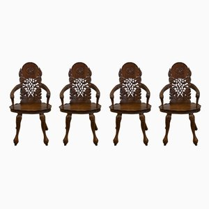 Vintage Anglo-Indian Carved Walnut Armchairs, 1920s, Set of 4