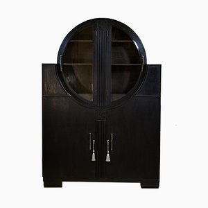 Art Deco Black Ebonized Oak Display Cabinet, 1930s