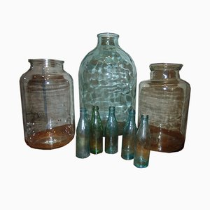 Vintage Industrial Glass Jars, 1920s, Set of 8
