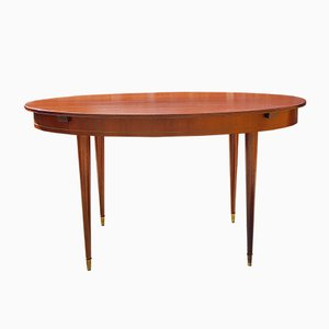 Mid-Century Mahogany & Brass Inlaid Oval Extendable Dining Table, 1970s