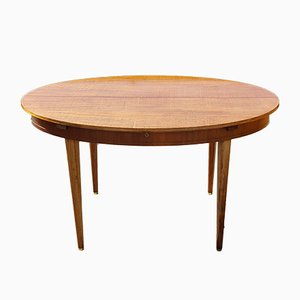 Mid-Century Brass Inlaid Two-Tone Oval Extendable Dining Table, 1970s