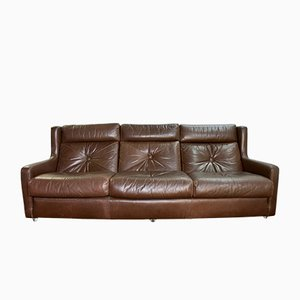 Mid-Century Brown Leather 3-Seater Sofa from Minty of Oxford, 1970s