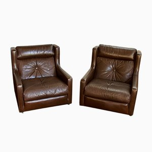 Mid-Century Brown Leather Armchairs from Minty of Oxford, 1970s, Set of 2