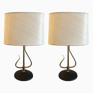 Cast Iron & Brass Table Lamps, 1960s, Set of 2