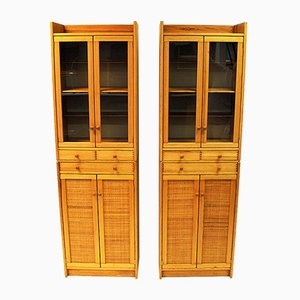 Glass & Pine Cabinets by Yngve Ekström for Swedese, 1970s, Set of 2