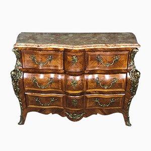 Cómoda estilo Luis XV vintage de formas sinuosas con tablero de mármol