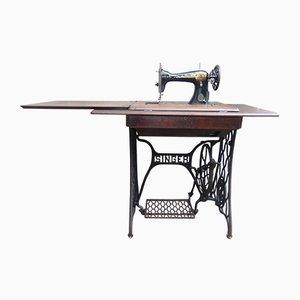 Juego de mesa y máquina de coser alemán modernista antiguo de Singer, década de 1900