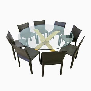 Vintage La Rotonda Dining Table & 8 Cab 412 Chairs Set by Mario Bellini for Cassina, 1990s