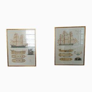 Vintage Poster mit Segelschiff-Motiven, 2er Set