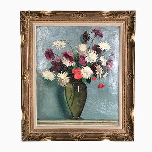 Vintage Bouquet Oil Painting by J. Marguerite Fournials