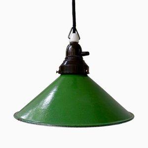 Vintage Industrial Enamel and Bakelite Pendant Lamp, 1940s