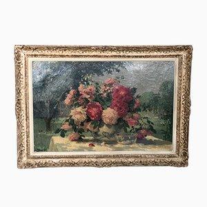 Oil Painting Bouquet of Roses Vintage par Maurice Décamps