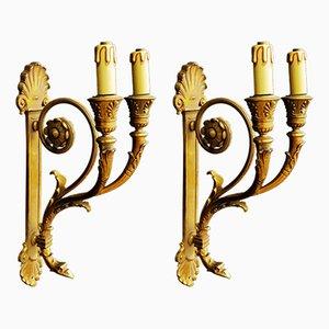 Antike Wandleuchten aus Bronze, 2er Set