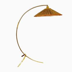 Vintage Brass Arc Floor Lamp by J. T. Kalmar for Kalmar, 1950s