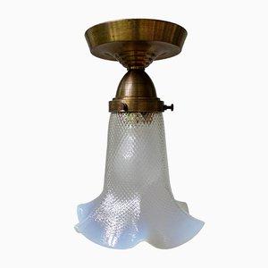 Art Nouveau Style Opaline Glass Ceiling Lamp, 1920s
